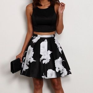 Short Two-piece Dress with Printed Floral Skirt